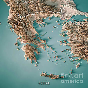 Greece Country 3D Render Topographic Map Neutral Border by Frank Ramspott