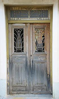 Greek Door With Wrought Iron Window by Maria Varnalis