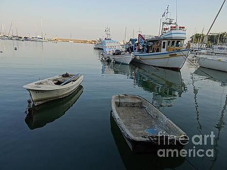 Greek fishing boats by Mitzisan Art LLC