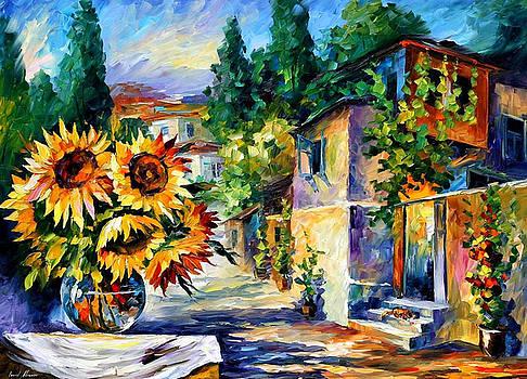 Greek Noon - PALETTE KNIFE Oil Painting On Canvas By Leonid Afremov by Leonid Afremov