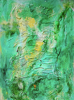 Green and Gold Abstract by Mimulux patricia No