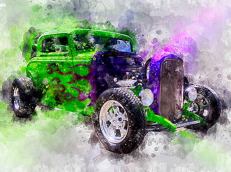 Green and Purple Watercolor by Michael Colgate