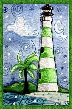 Green and White Tropical Lighthouse by Monica Resinger