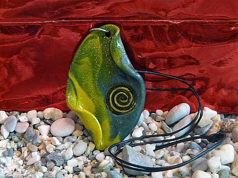 Green and Yellow Spiral Pendant by Chara Giakoumaki
