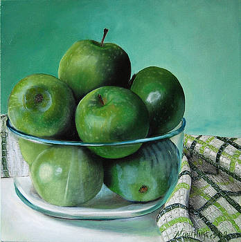 Green Apple and Tea Towel by Mary Hughes