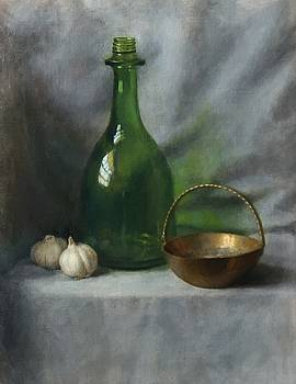 Green Bottle and Garlic by Michael Gillespie