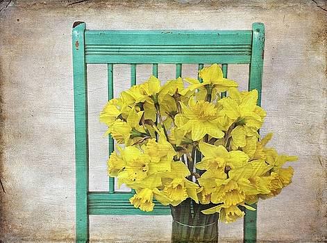 Green Chair with Daffodils by Stephanie Calhoun
