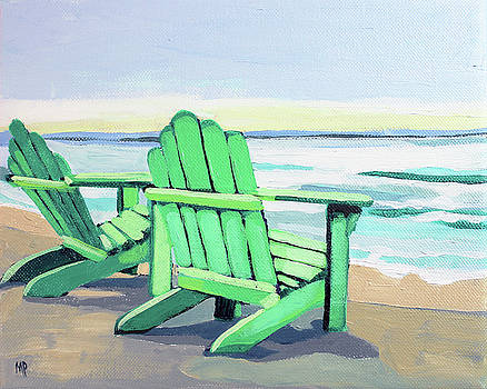 Green Chairs on the Shore by Melinda Patrick