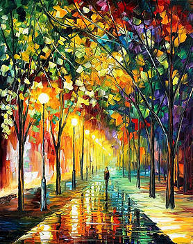 Green Dreams - PALETTE KNIFE Oil Painting On Canvas By Leonid Afremov by Leonid Afremov