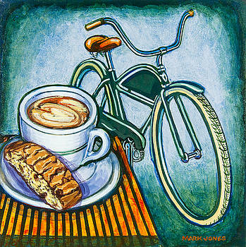 Green Electra Delivery Bicycle Coffee and biscotti by Mark Howard Jones
