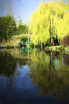 Green Footbridge in Monets Garden by David Smith