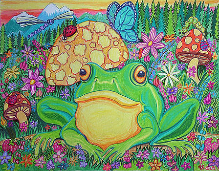 Nick Gustafson - Green frog with flowers and mushrooms