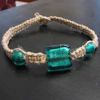 Green Glass Hemp Necklace by Brenna Bundschuh