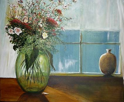 Green Glass Vase  by Lizzy Forrester