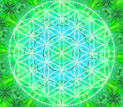 Green Healing Flower Of Life by Lila Violet