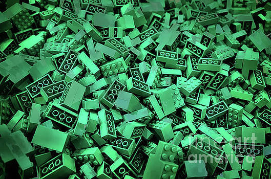 Green Lego Abstract by Norma Warden