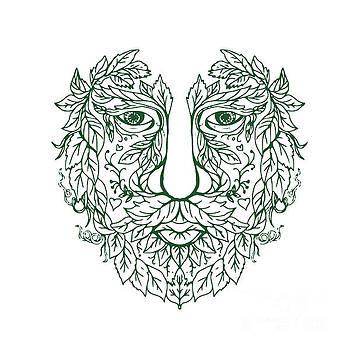 Green Man Head Front Mandala by Aloysius Patrimonio
