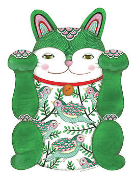 Green Maneki-neko by Helena Melo