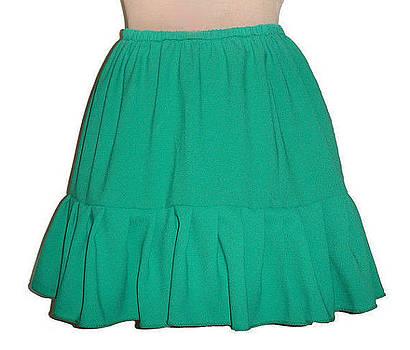 Sofia Metal Queen - Green mini skirt with ruffle. Ameynra fashion for teens