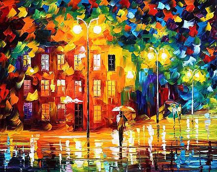 Green Mood - PALETTE KNIFE Oil Painting On Canvas By Leonid Afremov by Leonid Afremov