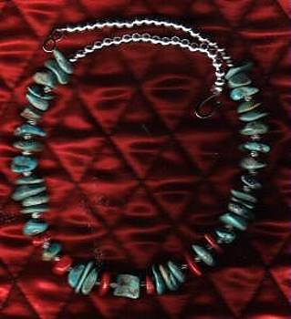 Green Nevada Turquoise And Coral Choker by White Buffalo