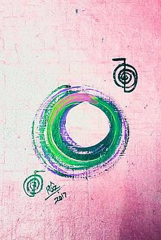 Rizwana A Mundewadi - Green on Pink Growth Enso