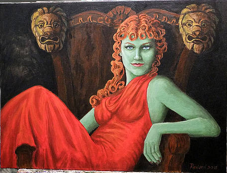 Green Orion in a red dress by Reuven Gayle