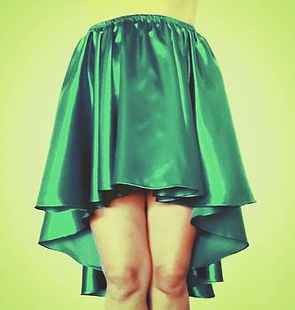 Sofia Metal Queen - Green satin high low skirt. Ameynra by Sofia