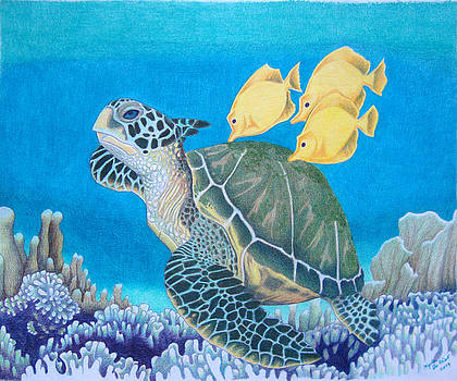 Green Seaturtle With Yellow Tangs by Angela DeRiso