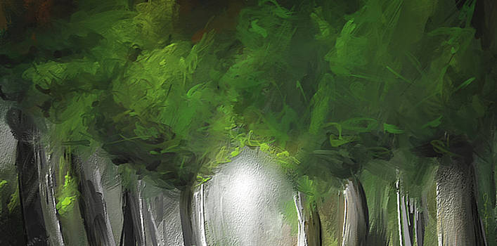 Green Serenity - Green Abstract Art by Lourry Legarde