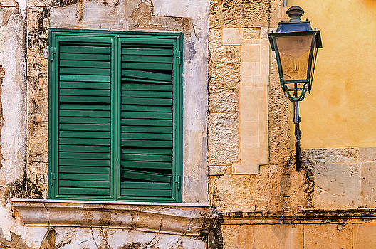 Green Shutters And Lamp Syracusesicily by Xavier Cardell