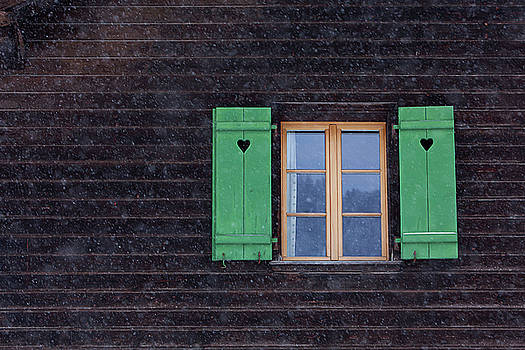 Art Block Collections - Green Shutters in the Snow