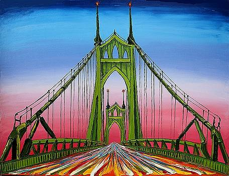 Green St. Johns Bridge 3 by Portland Art Creations