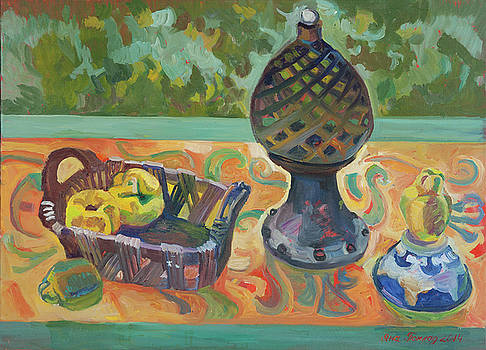 Green still life with quince by Yana Poklad