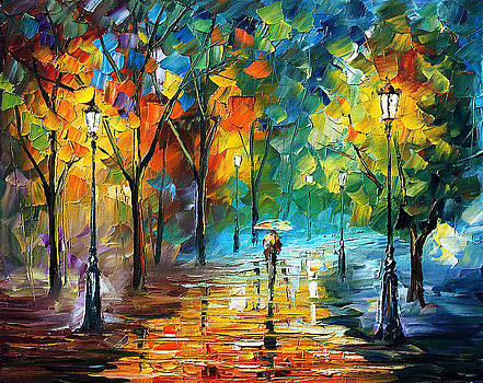 Green Tree - PALETTE KNIFE Oil Painting On Canvas By Leonid Afremov by Leonid Afremov