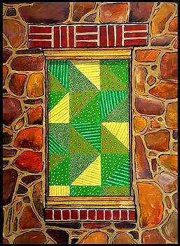 Green Triangles Quilted Window by Jim Harris