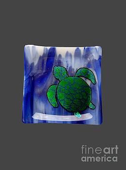 Green Turtle on Blue Sea by Sandy Feder
