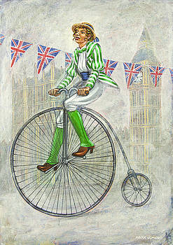 Tweed Run Lady in Green pedalling past the Houses of Parliament by Mark Howard Jones