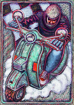 Green Vespa by Mark Howard Jones