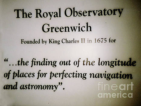 Greenwich Observatory Sign in Greenwich, England by Merton Allen