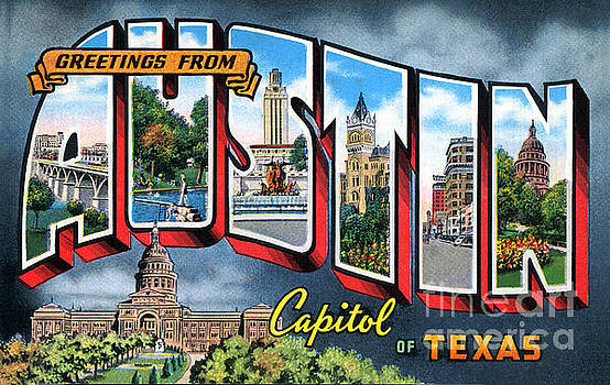 Herronstock Prints - Greetings from Austin Capitol of Texas Postcard Image