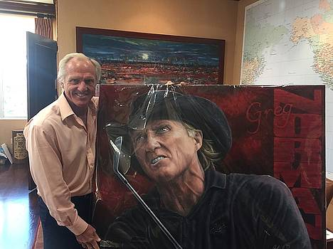Greg Norman with his Original painting by John Prince by Sports Art World Wide John Prince