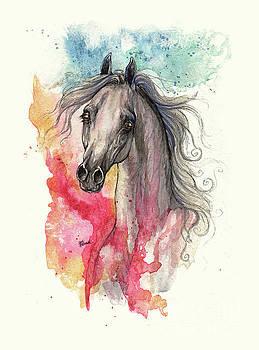 Angel Tarantella - grey arabian horse on rainbow background 2013 11 15