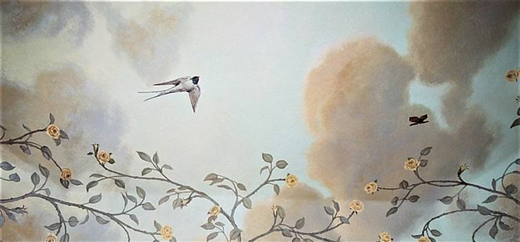 Grey Cloudy Flight by Dove by Suzn Smith