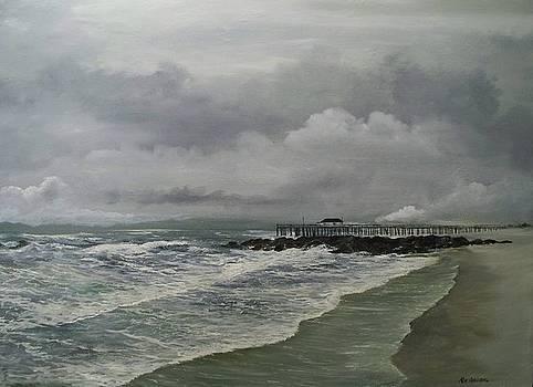 Grey day at Ocean Grove by Ken Ahlering