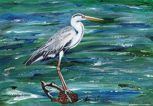 Grey Heron of Cornwall -painting by Veronica Rickard