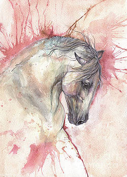 Grey Horse On Red Background by Angel Tarantella