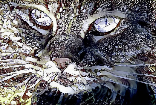 Peggy Collins - Grey Persian Cat Abstract Art