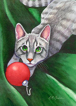 Grey Tabby with Red Ornament by Rachel Armington