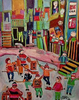 Griffintown Backlane Hockey 1970 by Michael Litvack
